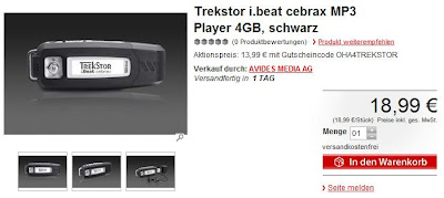 USB-Stick/MP3-Player Trekstor i.BEAT cebrax 2.0 4GB bei MeinPaket für 13,99 Euro