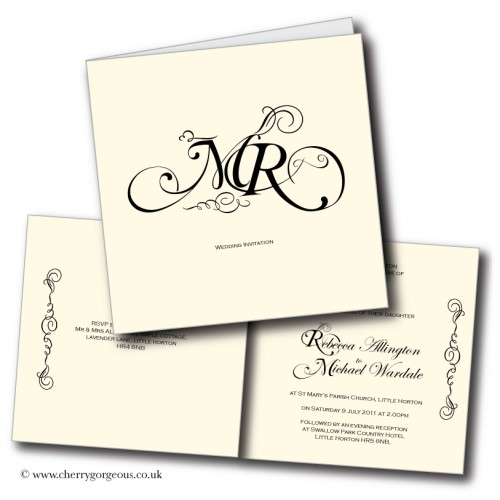 Monogram wedding invitations for Most formal wedding invitations
