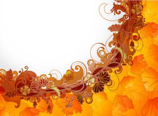 美しい紅葉を曲線に配置した背景 Abstract background with flowers elements イラスト素材