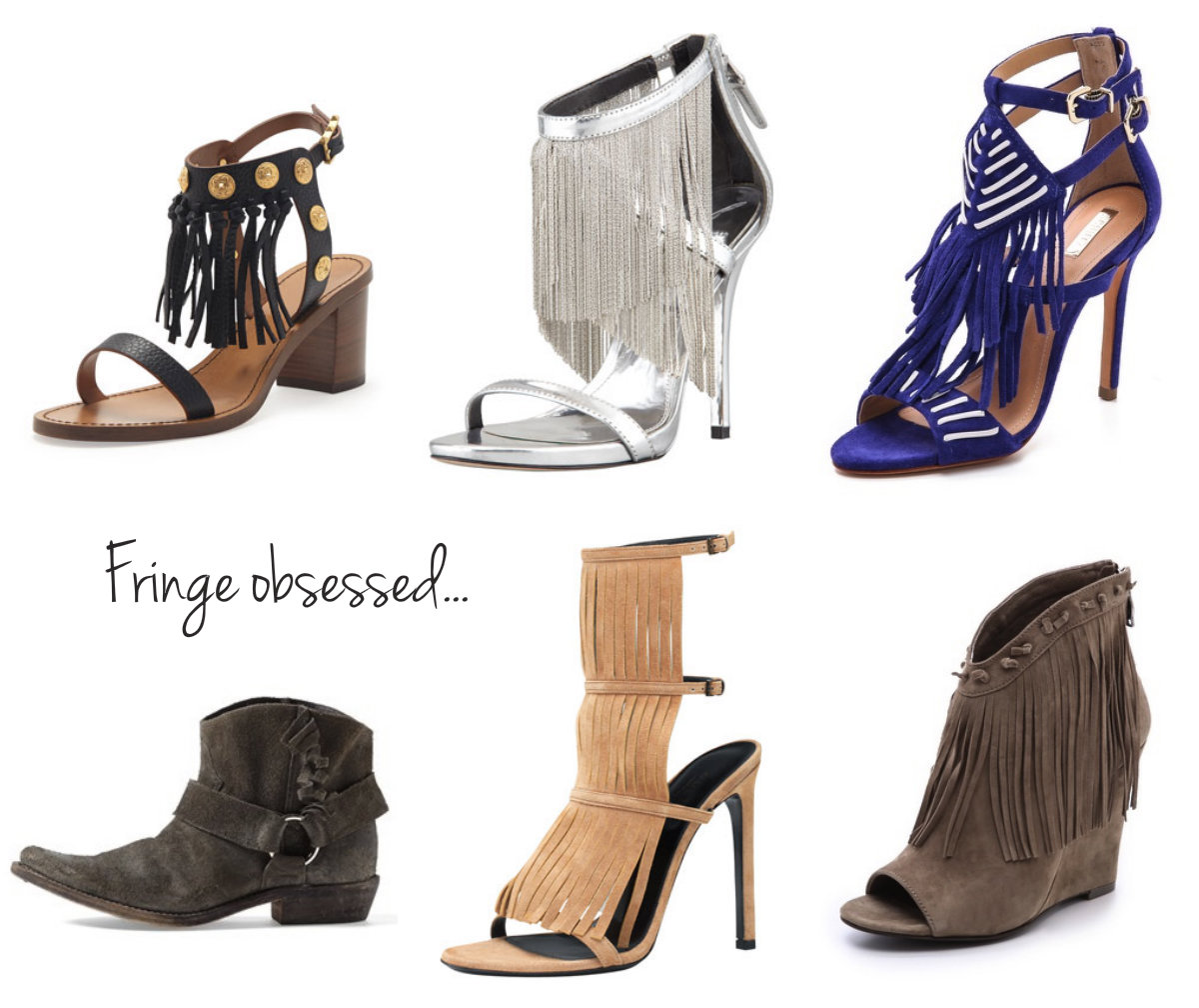 collage of shoes with fringe- Valentino, B Brian Atwood, Schutz, Golden Goose, Gucci, Ash