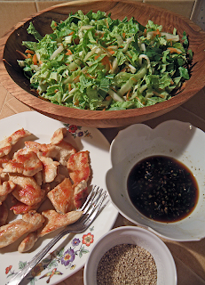 Sauteed Chicken, Veggies in Salad Bowl, Sesame Seeds and Dressing