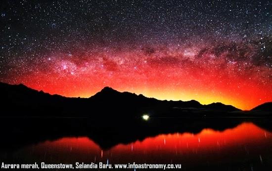 Aurora Merah Mempesona di Langit Selandia Baru