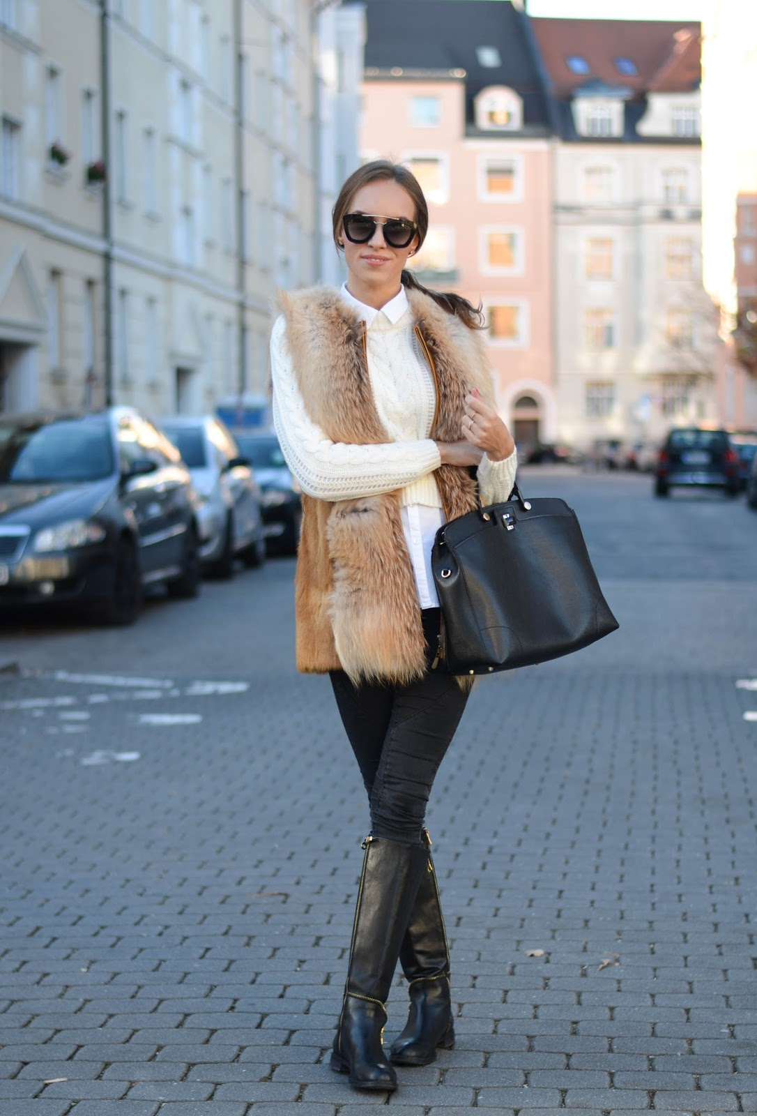 kristjaana mere fur vest white jumper black skinny jeans knee boots winter style
