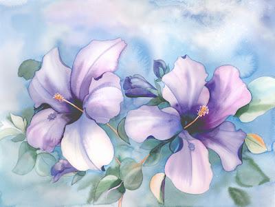 flores violetas Acuarelas de flores