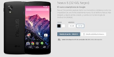 El periodo de entrega del Nexus 5 de 32Gb en Negro es de 4 días