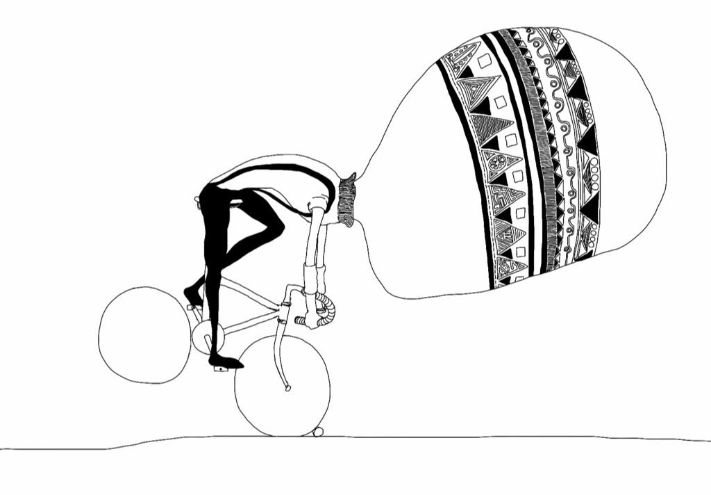 big headed cyclist falling