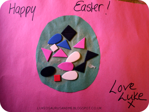 Easter Activities For Toddlers. Foam Shape Easter Egg Card. www.lukeosaurusandme.blogspot.co.uk