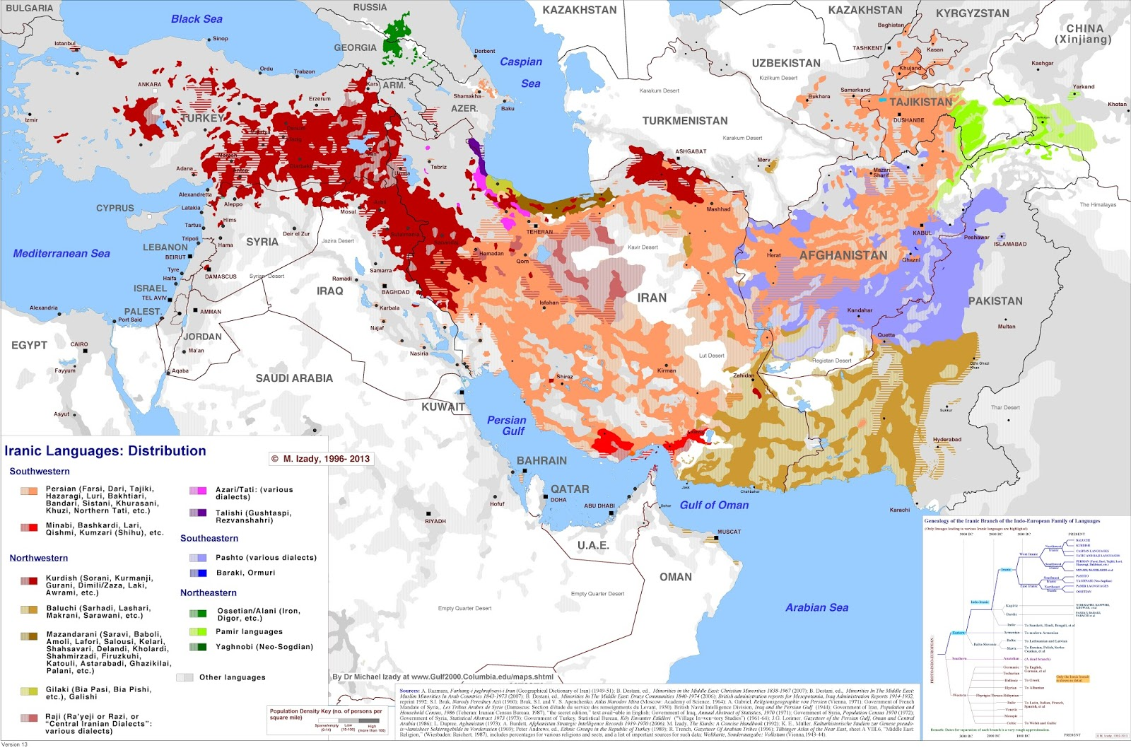 Current distribution of iranic languages