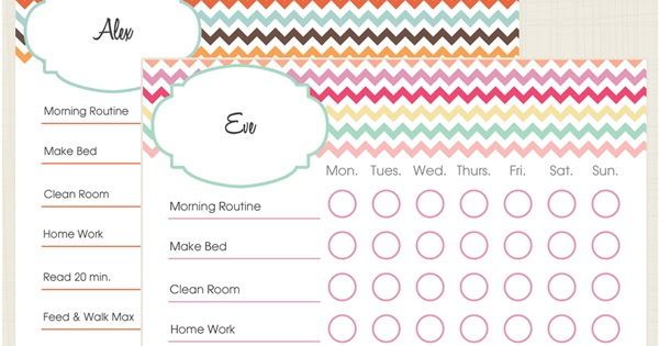Pinch A Little Save A Lot Free Kids Chore Charts