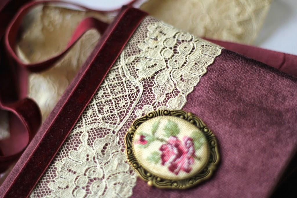блокнот состаренный, ретро блокнот, блокнот с вышивкой