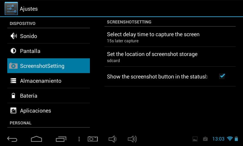"""2. Localizamos y activamos la pestaña """"Show the screenshot button in the statusbar"""", lo que nos colocará un icono con forma de cámara fotográfica en la barra de status de la tablet."""