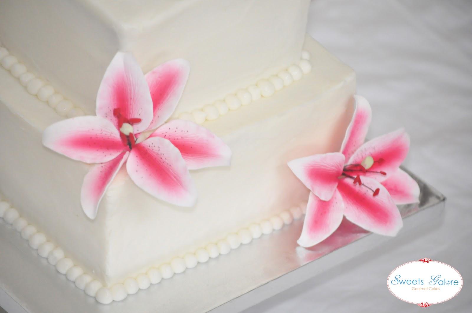 Sweets Galore Pink Stargazer Lily Wedding Cake