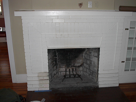 gallery for painted white brick fireplace