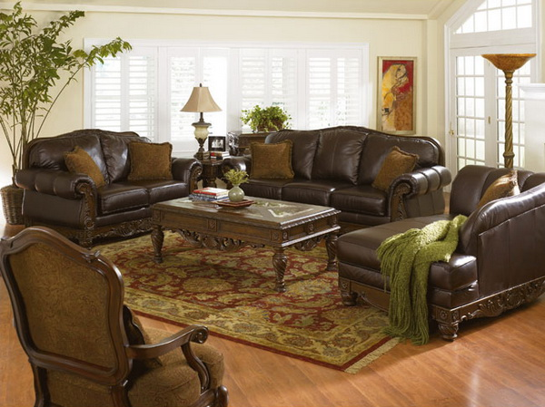 Traditional Leather Living Room Furniture (5 Image)