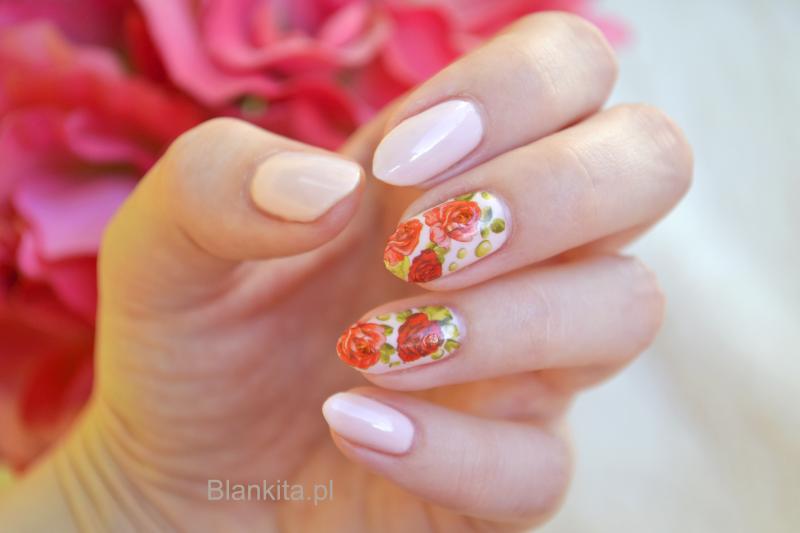 naklejki na paznokcie, wodne naklejki, róże na paznokciach, czerwone roze, born pretty naklejki
