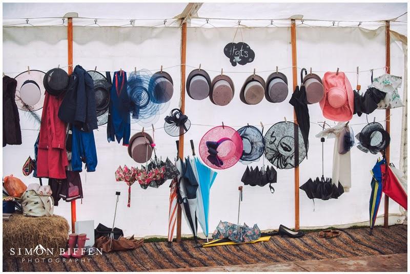 Wedding hats and umbrellas