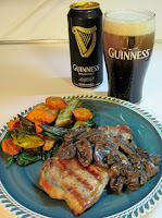 Guinness beer with Irish pork chop dinner