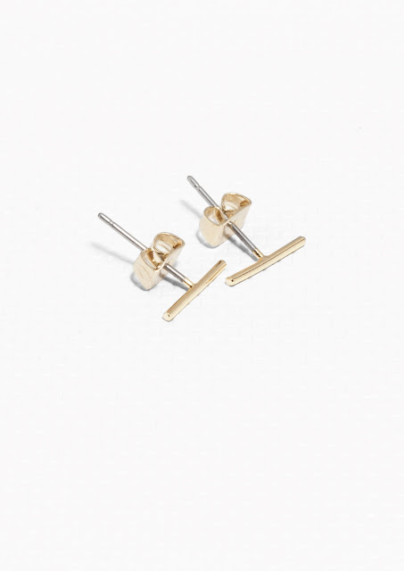 gold thin bar studs, stories gold bar studs, gold plated bar studs,