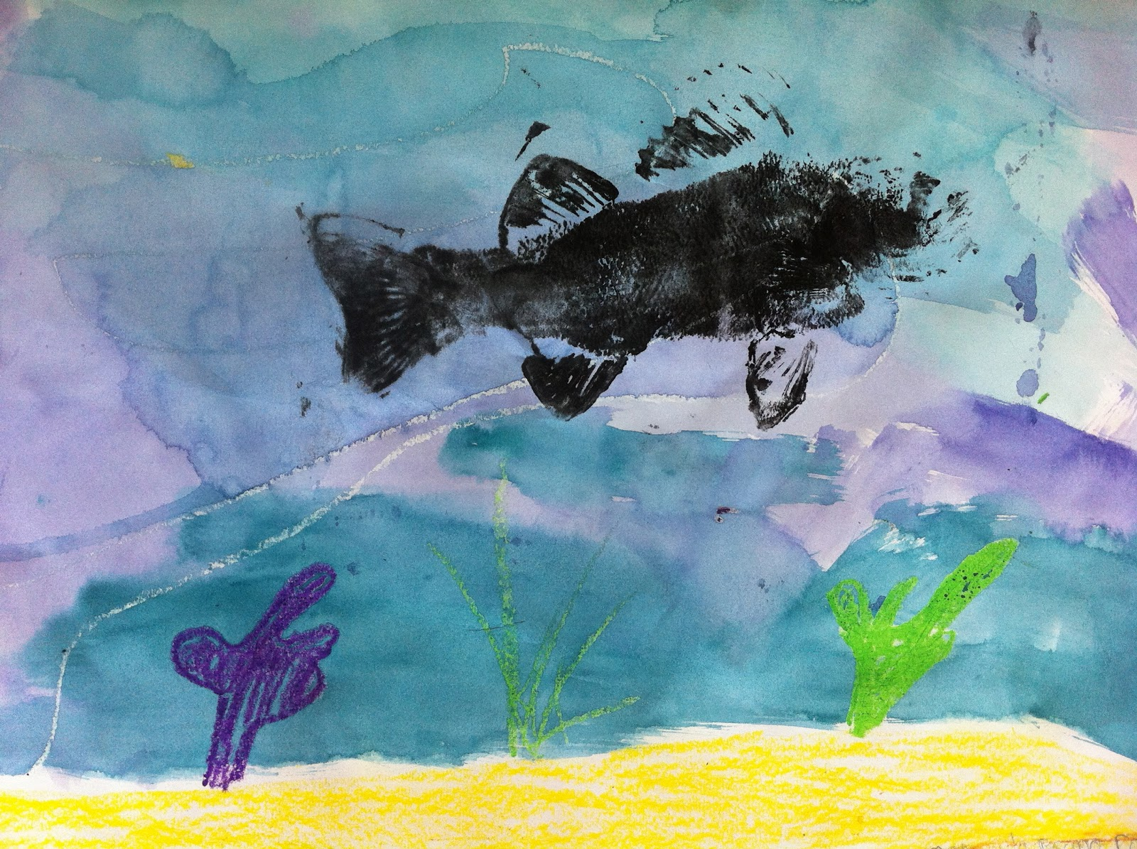 Art project girl 1 fish 100 success easy gyotaku for Easy fish painting