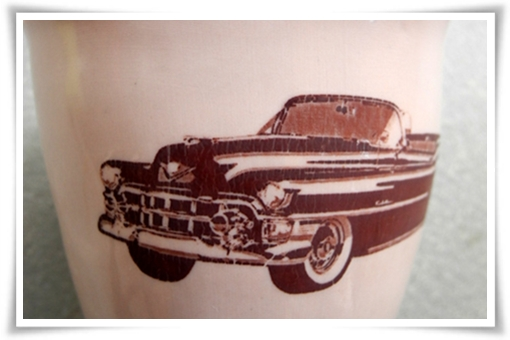 old timer iron decal on pink porcelain cup