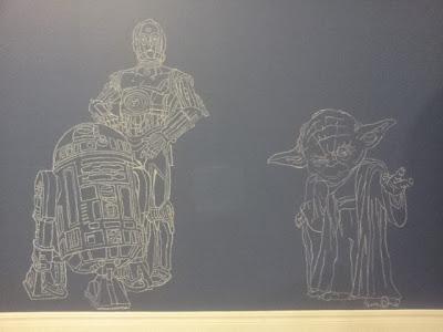 Star Wars Yoda C3P0 R2D2 chalkboard wall diy
