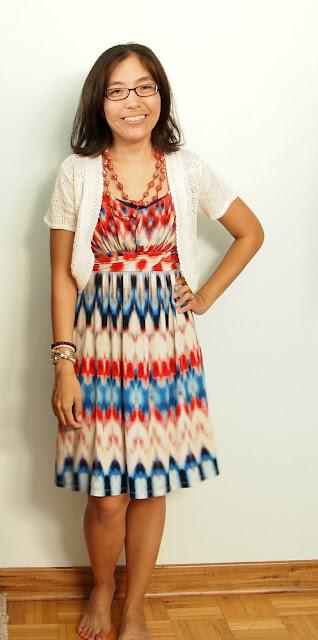 red white blue dress white shrug teacher style