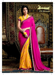 Two Shades Embroidered Sarees of India