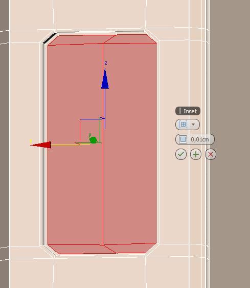 Realizar inset en polígonos del iphone5 en 3ds max.