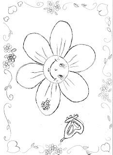 a desenhar estação da primavera flores passaros borboletas colorir