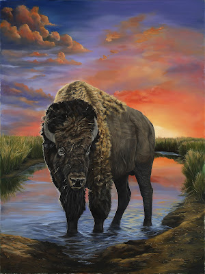 Bison- Oil on Canvas  by Laura Curtin