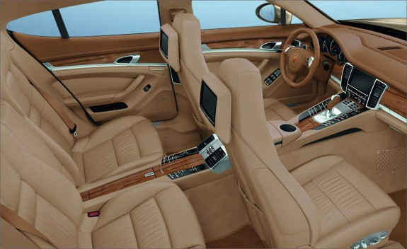 Tan leather and wood in 2011 Porsche Panamera interior