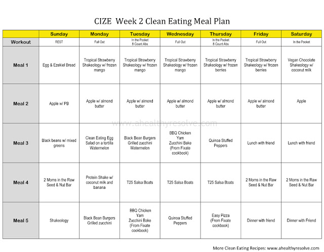 CIZE Clean Eating Meal Plan