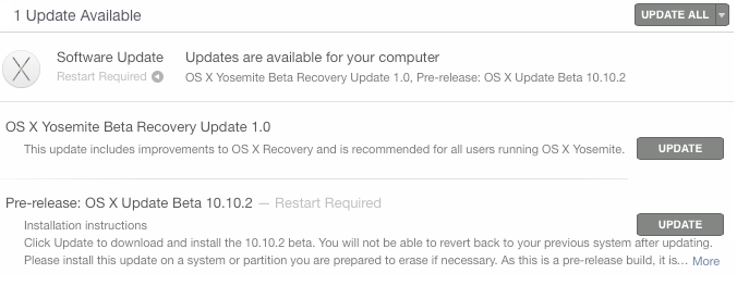 Mac OS X Yosemite 10.10.2 Public Beta (14C81h) Update