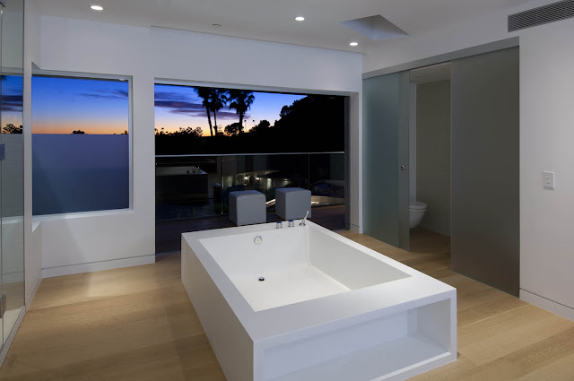 Picture of white modern bathtub in the bathroom