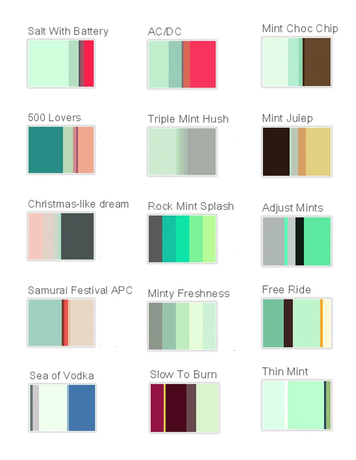 Mint Color Palettes Mint Colored Wedding Theme Pinterest