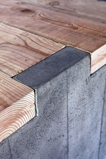 Banco madeira e concreto