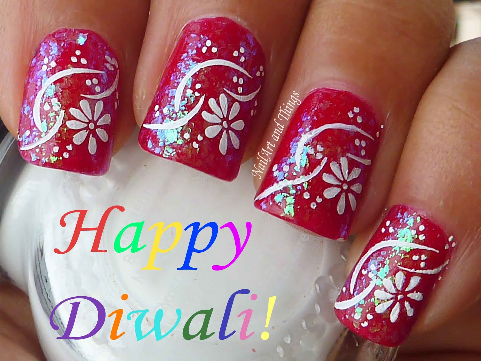 NailArt and Things: Diwali Nail Art: Wish you all A very Happy Diwali!!