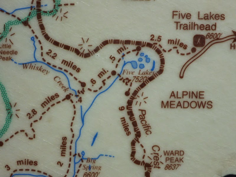 Trail map with Five Lakes basin, Whiskey Creek and Ward Peak