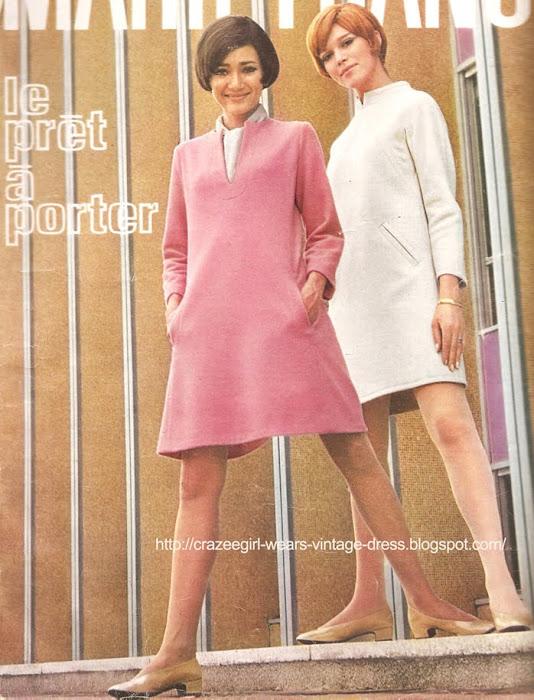 pink white aline dress coat 1967 60s 1960 A droite , stricte et bien construite, en tricotine beige de Dumas Maury (Fabric Manufacturer) - RALLYE LEMPEREUR chez Hermia.  A gauche, souple et légère en ratine bois de rose, NORMAN-VASKENE chez Citronelle .