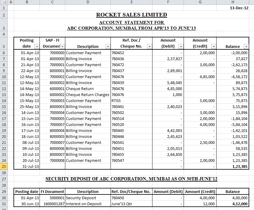 Account Statement Template Excel