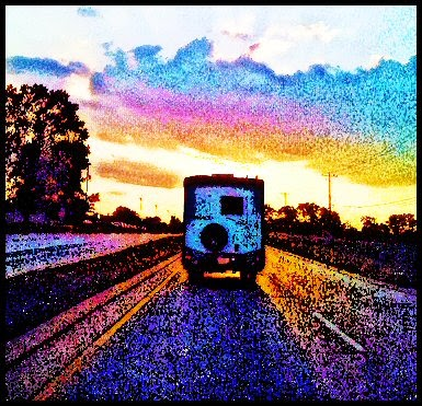 RV man cave riding into the sunset