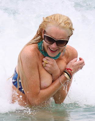 Lindsay Lohan Blue Bikini Boob-Slip Candid Photos From Miami