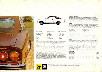 Opel Manta A series Berlinetta Sales Brochure Page 4