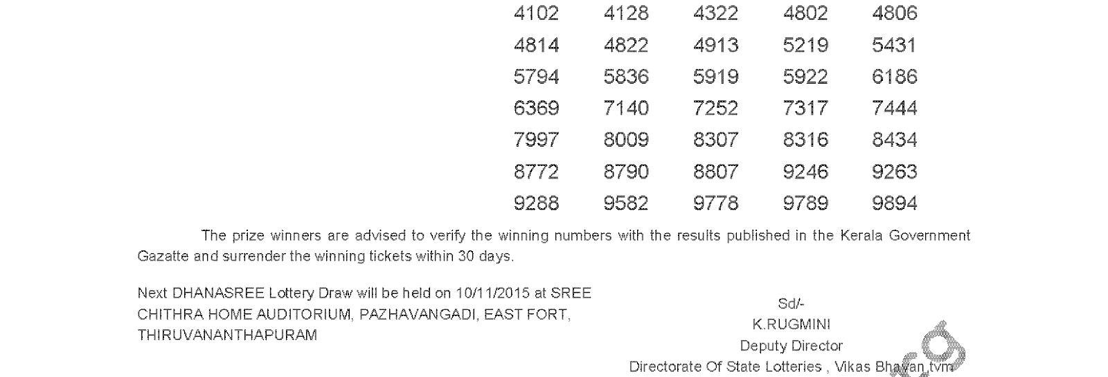 DHANASREE Lottery DS 210 Result 3-11-2015