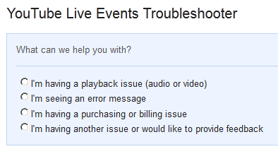 YouTube Live Events Troubleshooter