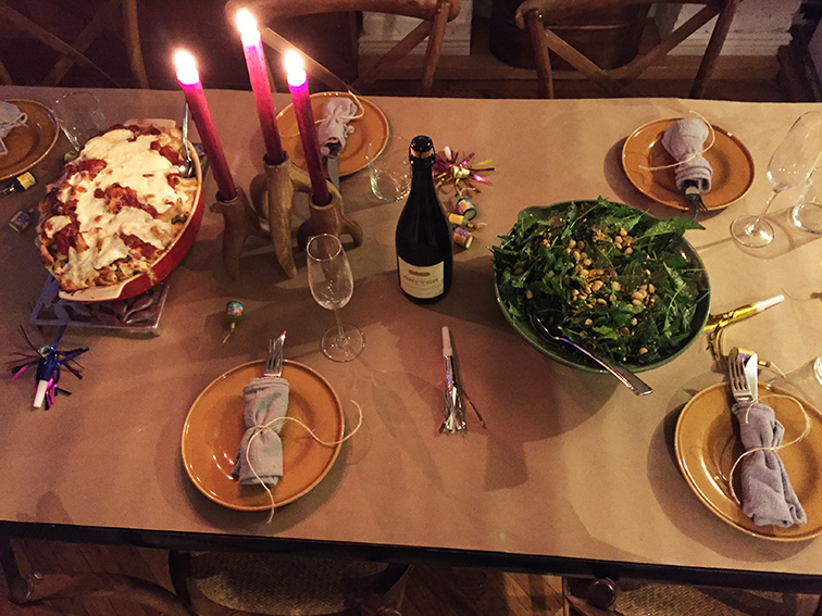 New year's eve feast, table setting, dinner party 2015