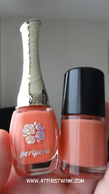 Coral Peripera nail polish and Tony Moly nail polish