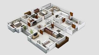 บ้านชั้นเดียว 3 ห้องนอน