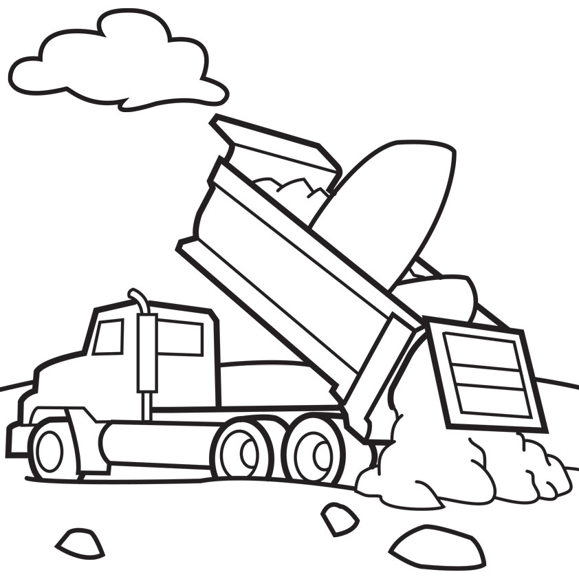 Coloring Pages For Ipad : Dump truck coloring page book illustration for ipad