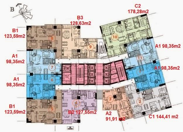 Mặt bằng căn hộ chung cư Hà Đô Park View Dịch Vọng